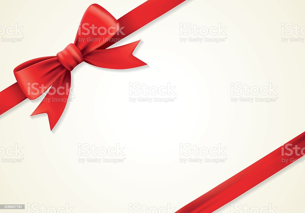 Red ribbons and greeting card, bows, ornament vector art illustration