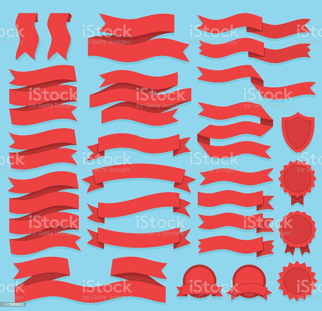 Red Ribbons and Labels Set vector art illustration