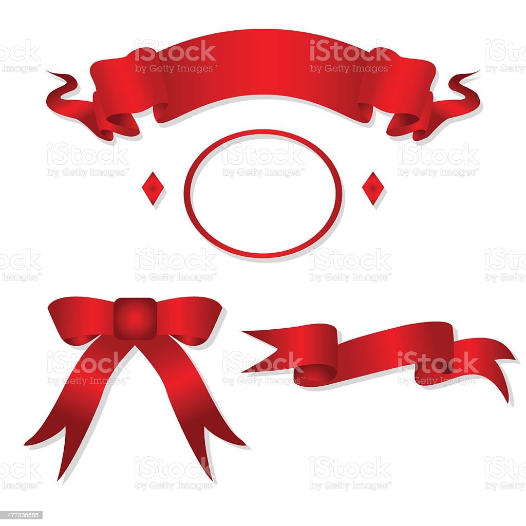 Red ribbons on white. royalty-free stock vector art