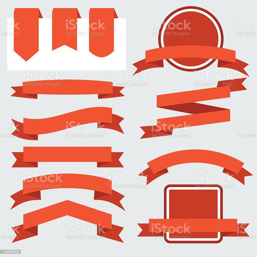 Red Ribbons Set isolated On White Background. Vector Illustration vector art illustration