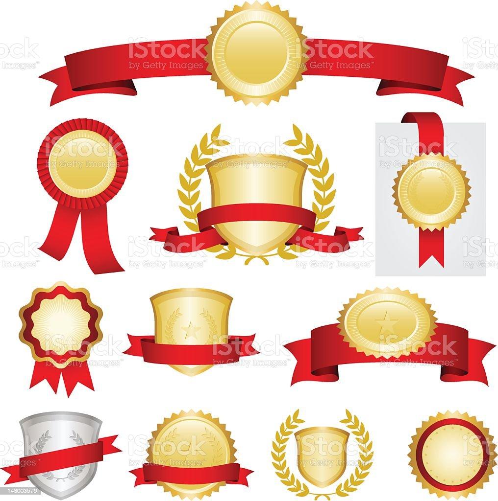 Red ribbons set royalty-free stock photo