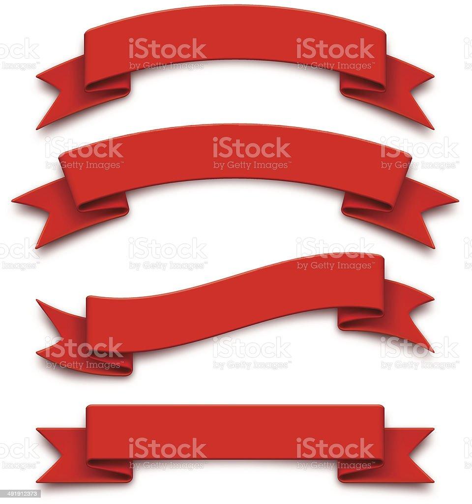 Red ribbons vector art illustration