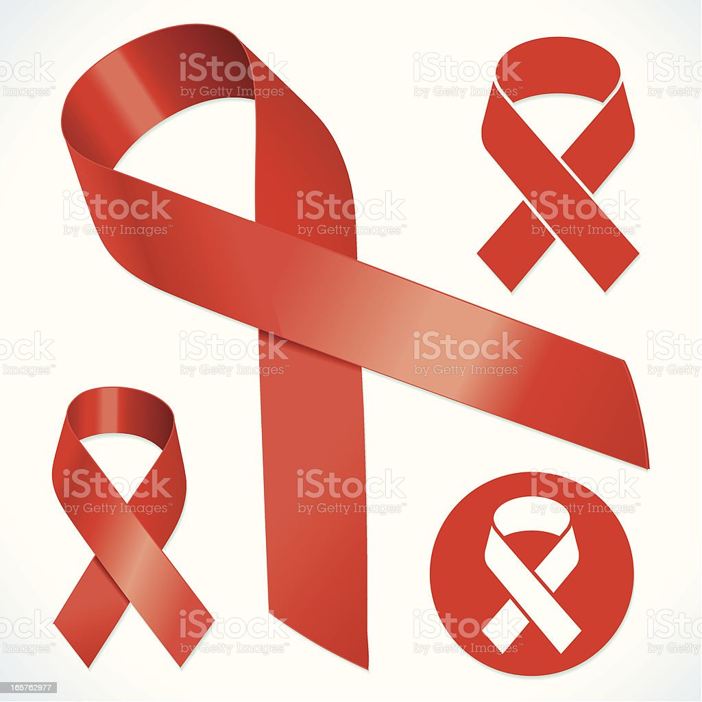 Red ribbons with long and short tails vector art illustration