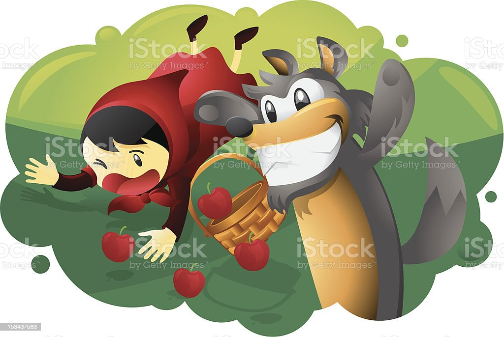 Red Riding Hood and Wolf vector art illustration