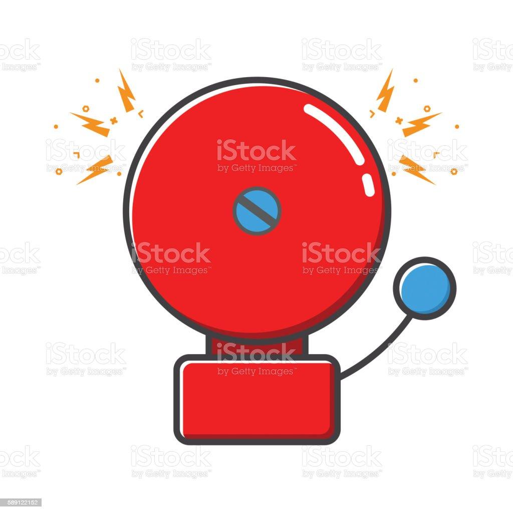 Red ringing alarm bell in retro style vector art illustration