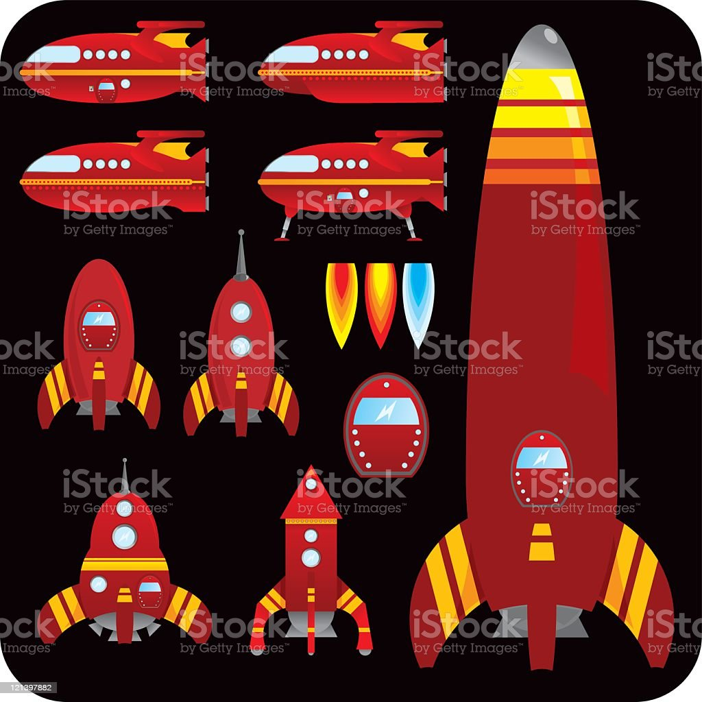 Red rockets and spaceships royalty-free stock vector art