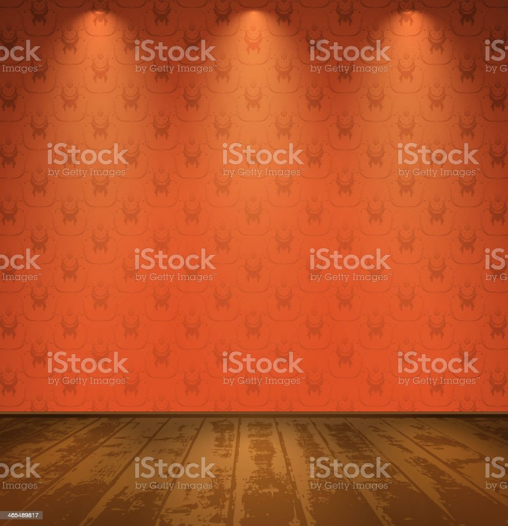 Red room with wooden floor vector art illustration