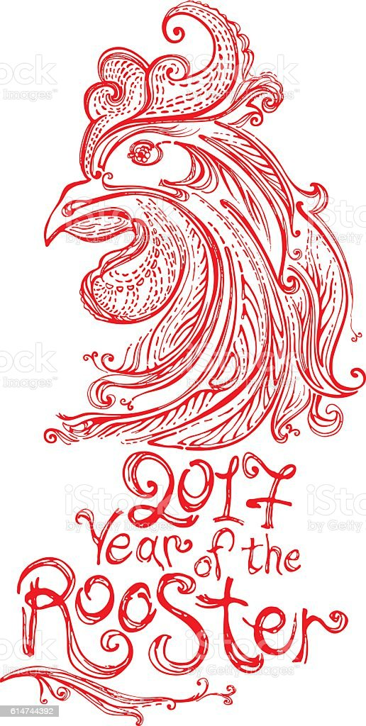 Red Rooster. Symbol 2017. vector art illustration
