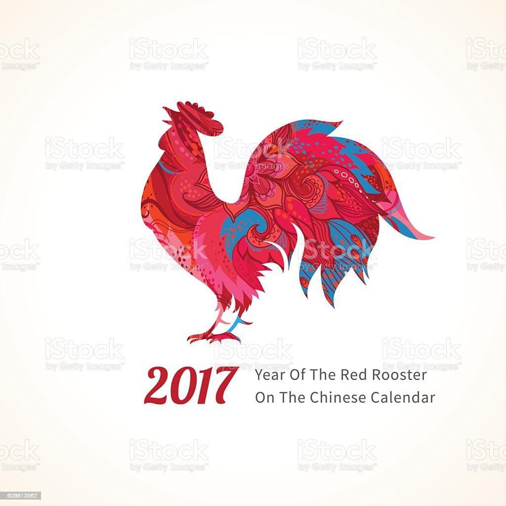 Red Rooster symbol of 2017. vector art illustration