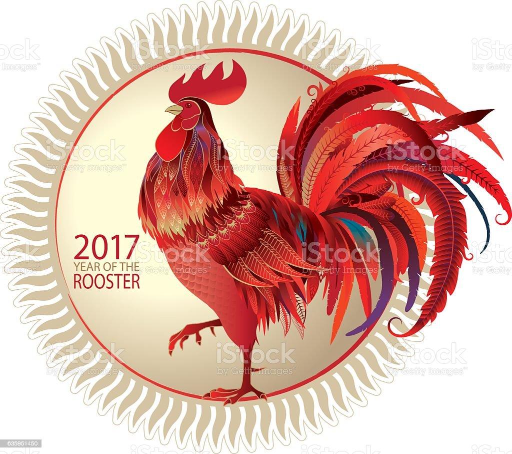 Red Rooster vector art illustration