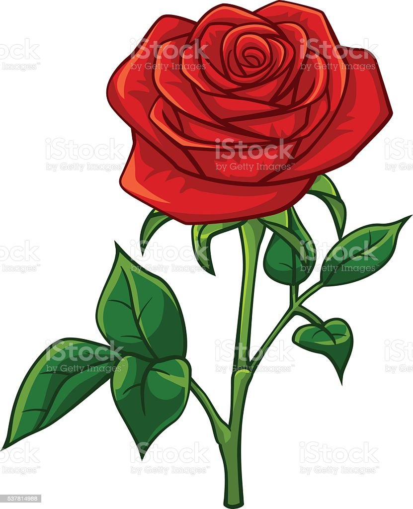 Red rose cartoon style royalty-free stock vector art