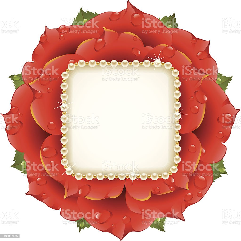 Red Rose circle frame royalty-free stock vector art