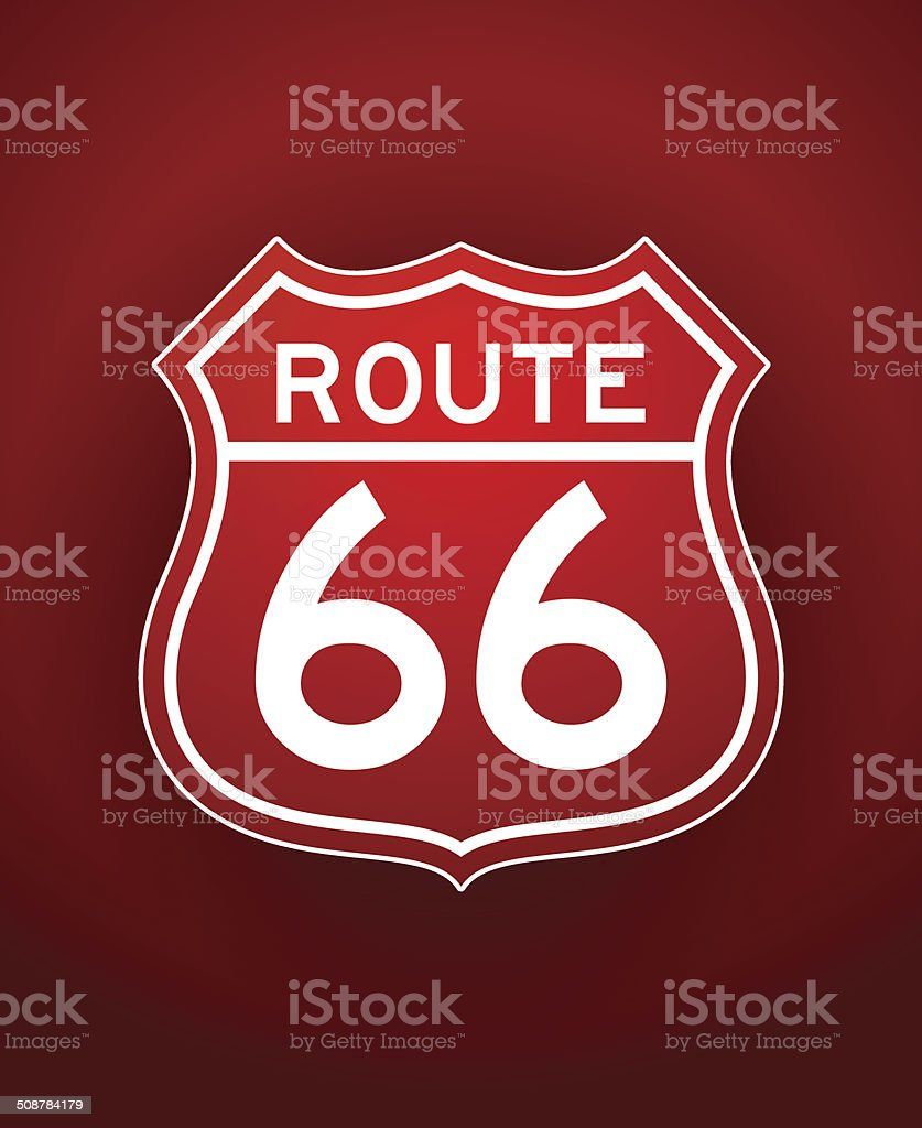 Red Route 66 Silhouette royalty-free stock vector art