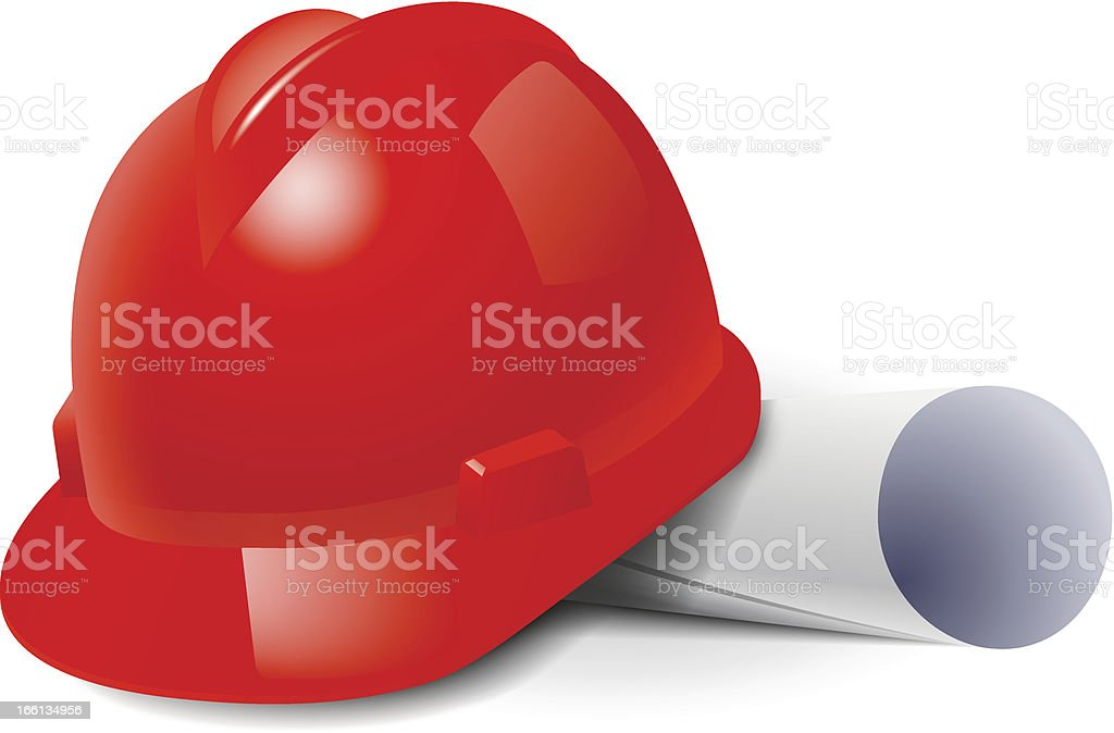 Red safety hard hat and drawings royalty-free stock vector art
