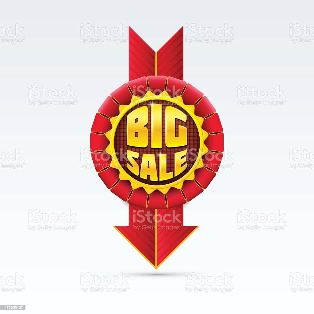 Red Sale Badge With Shadow on White Background. royalty-free stock vector art