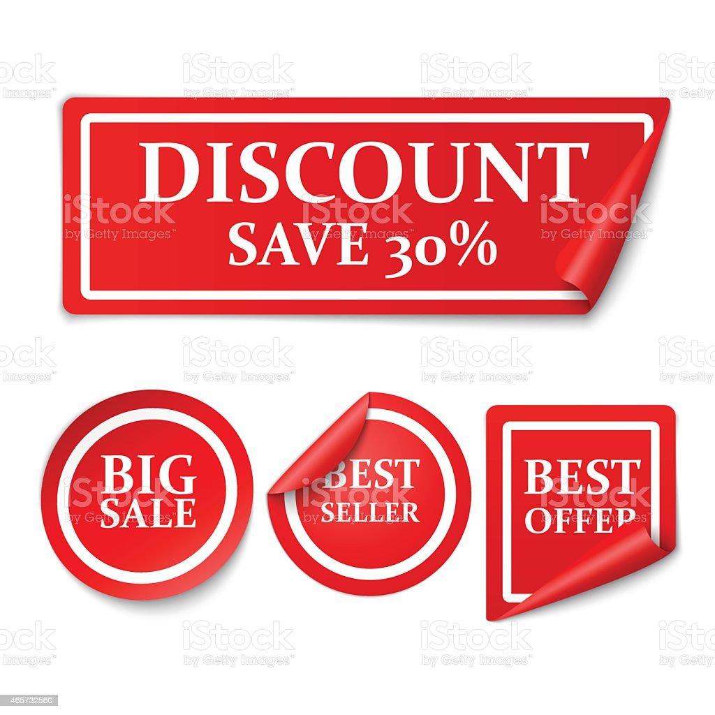 Red sale stickers vector art illustration