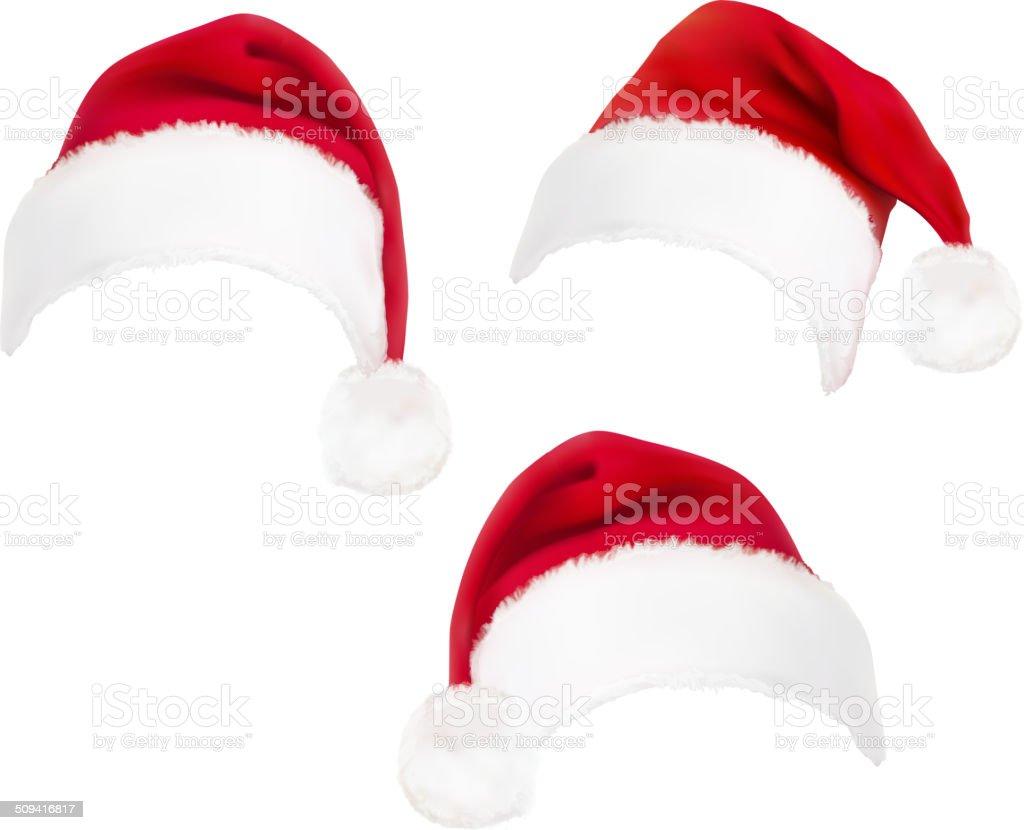 red santa hats. Vector. vector art illustration