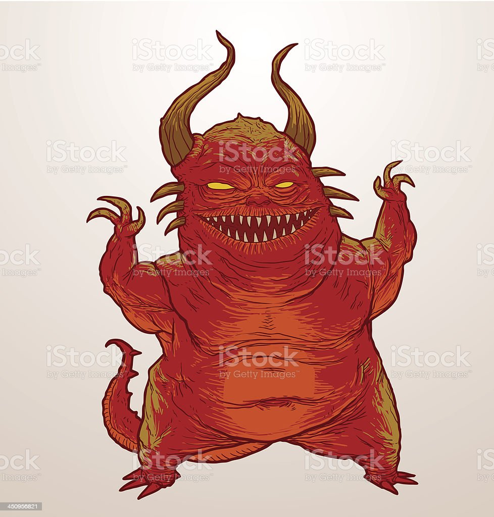 Red scary monster royalty-free stock vector art