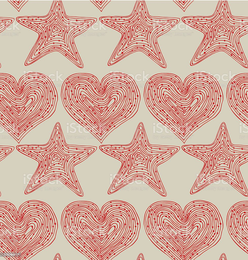 Red seamless pattern with hearts and stars royalty-free stock vector art
