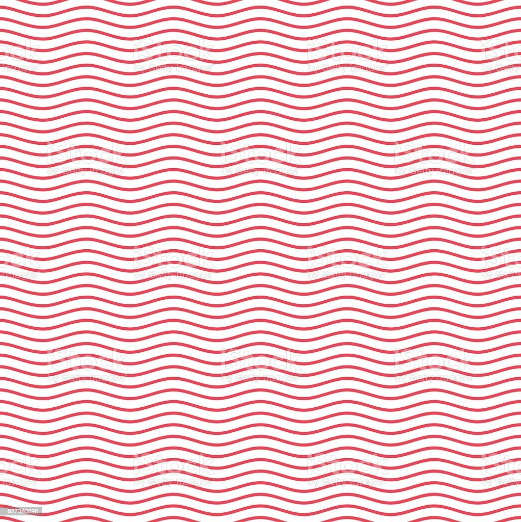 Red seamless wavy line pattern. vector art illustration