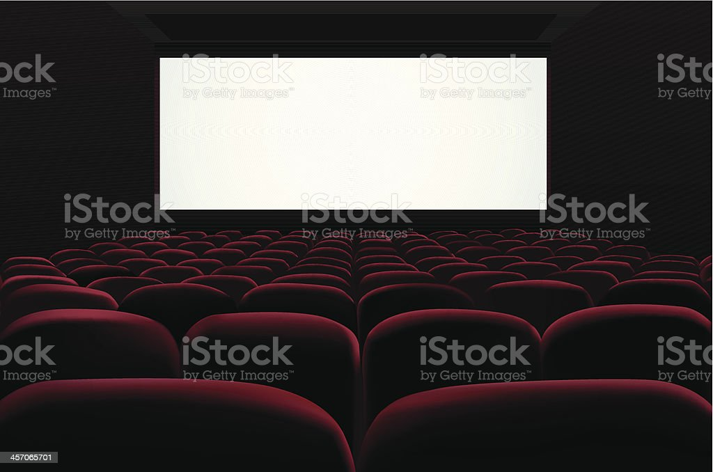 Red seats of cinema in front of blank screen vector art illustration