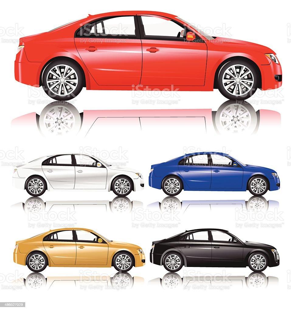 Red Sedan Car vector art illustration