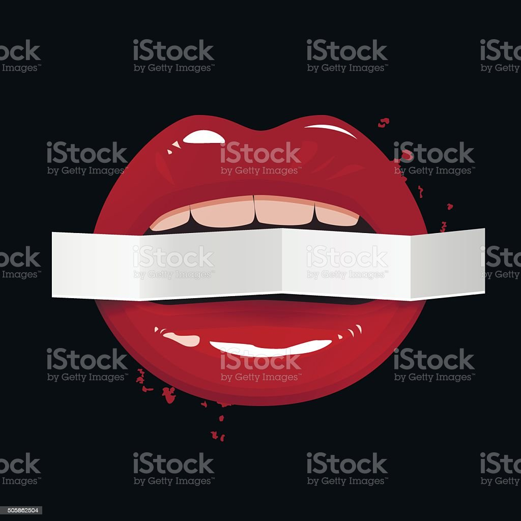 Red seductive lips holding a blank paper banner vector art illustration