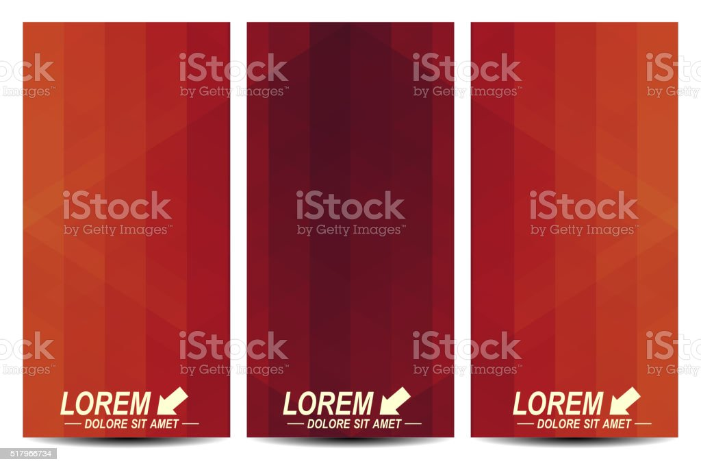 Red set of vector flyers. Background with dark red triangles vector art illustration