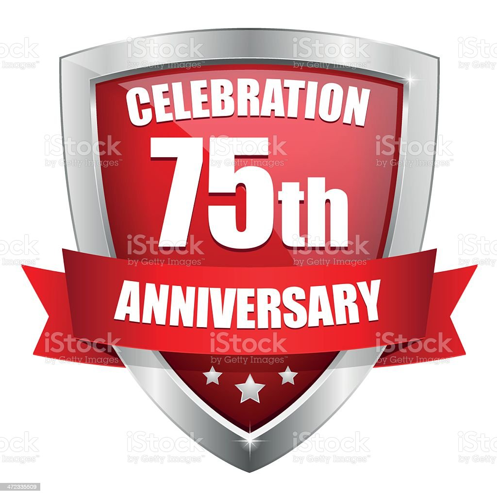 Red seventy-five year anniversary button royalty-free stock vector art