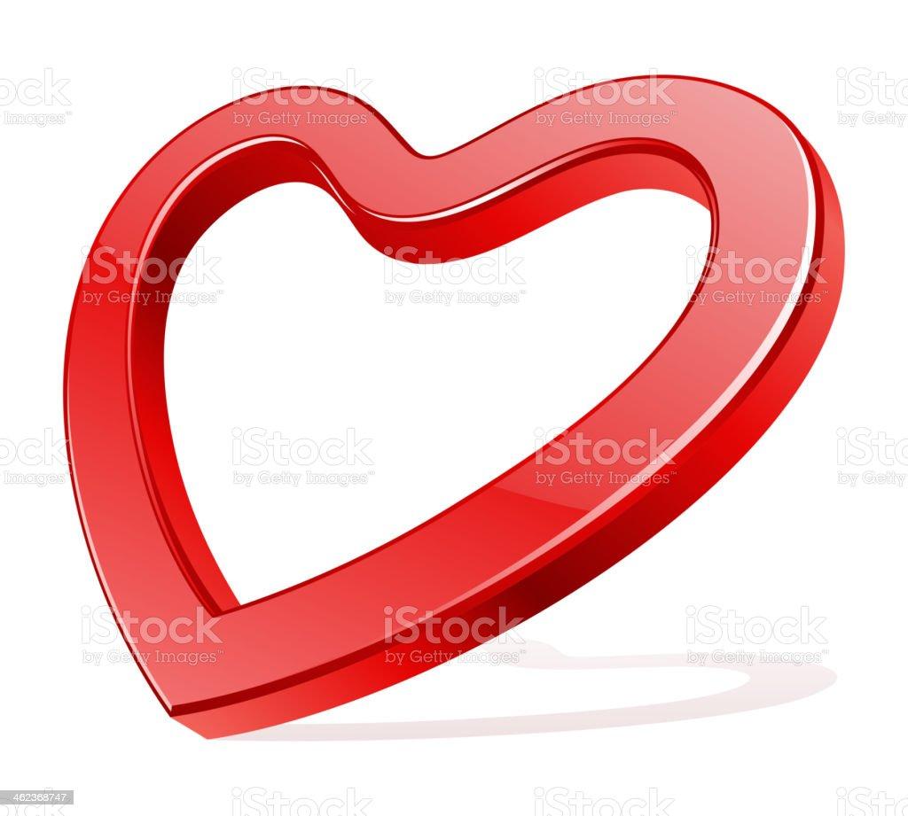 Red shiny glass heart shape vector art illustration