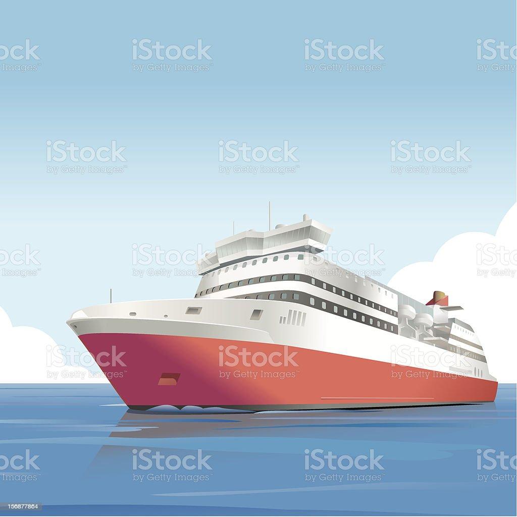 Red ship vector art illustration