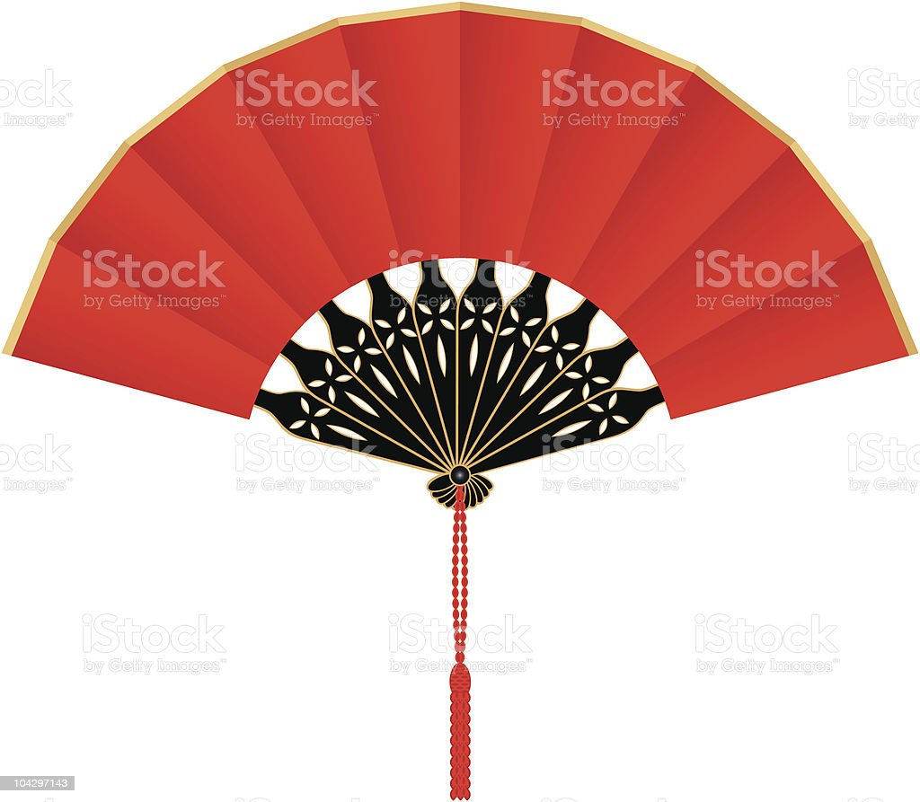 Red Silk Chinese Fan royalty-free stock vector art