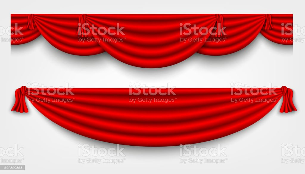 red silk curtains stage vector art illustration