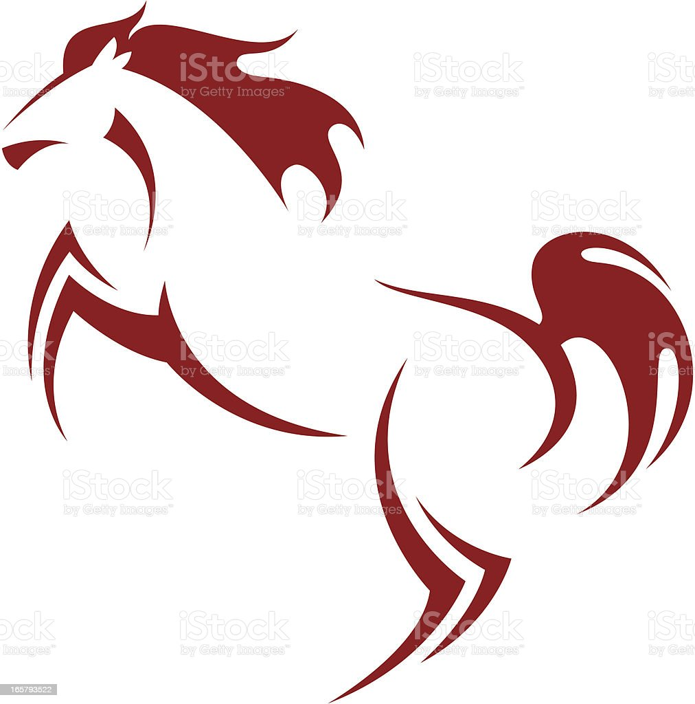 A red simple drawing of a horse royalty-free stock vector art