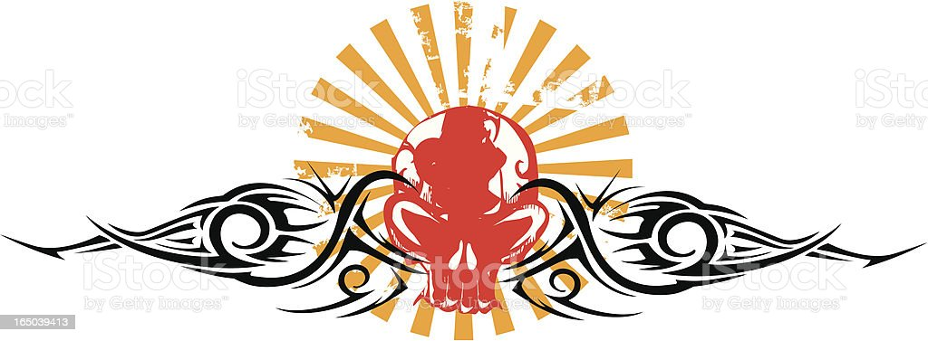 red skull emblem with tribal accents and japan rays royalty-free stock vector art
