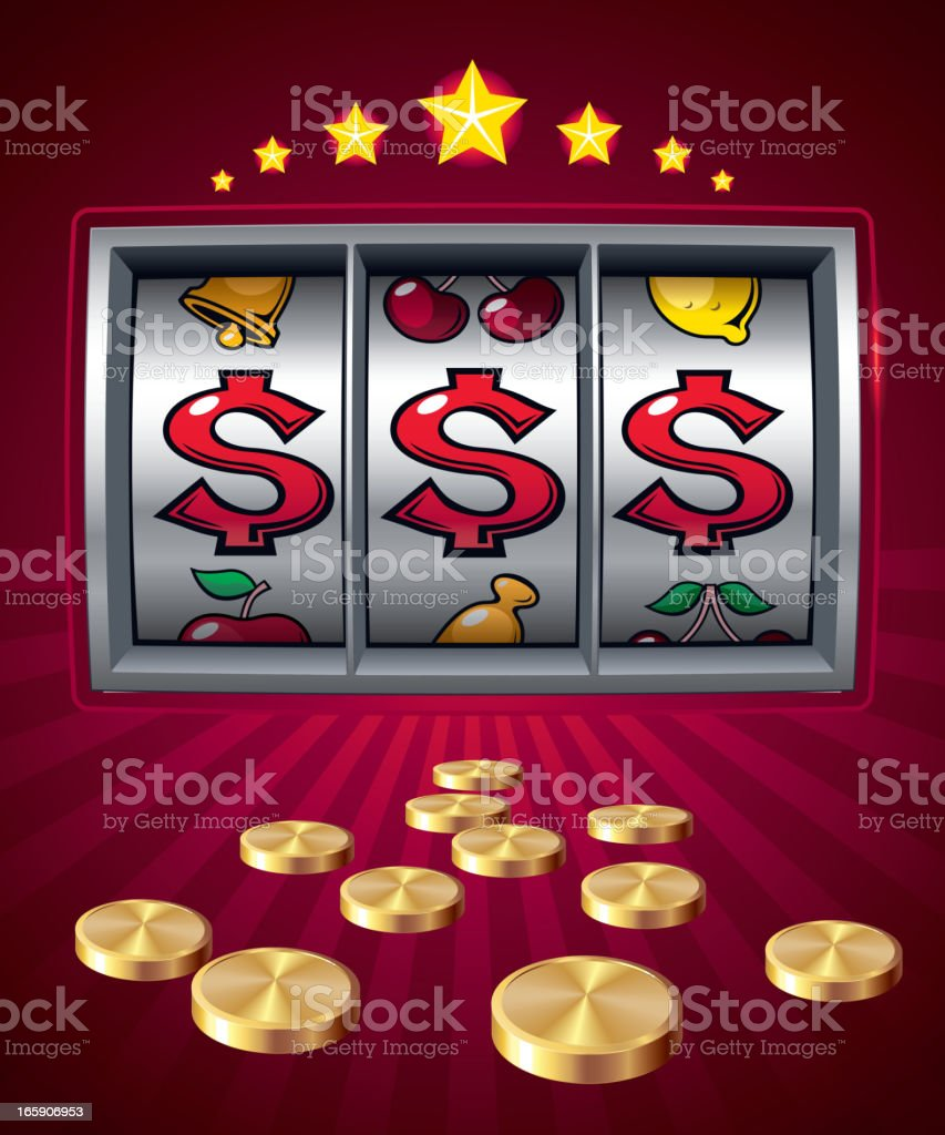 Red slot machine animation with gold coins vector art illustration