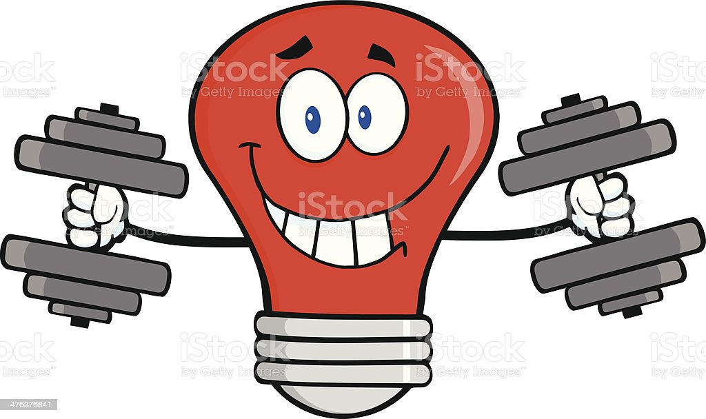 Red Smiling Light Bulb Training With Dumbbells royalty-free stock vector art
