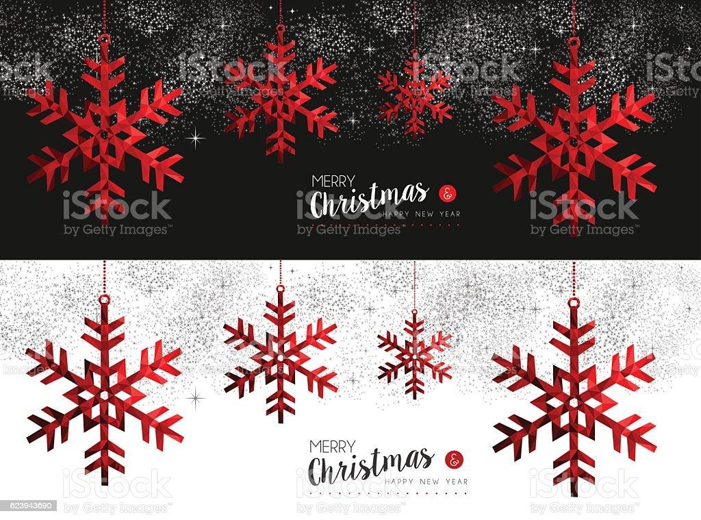 Red Snowflake social media cover for christmas vector art illustration