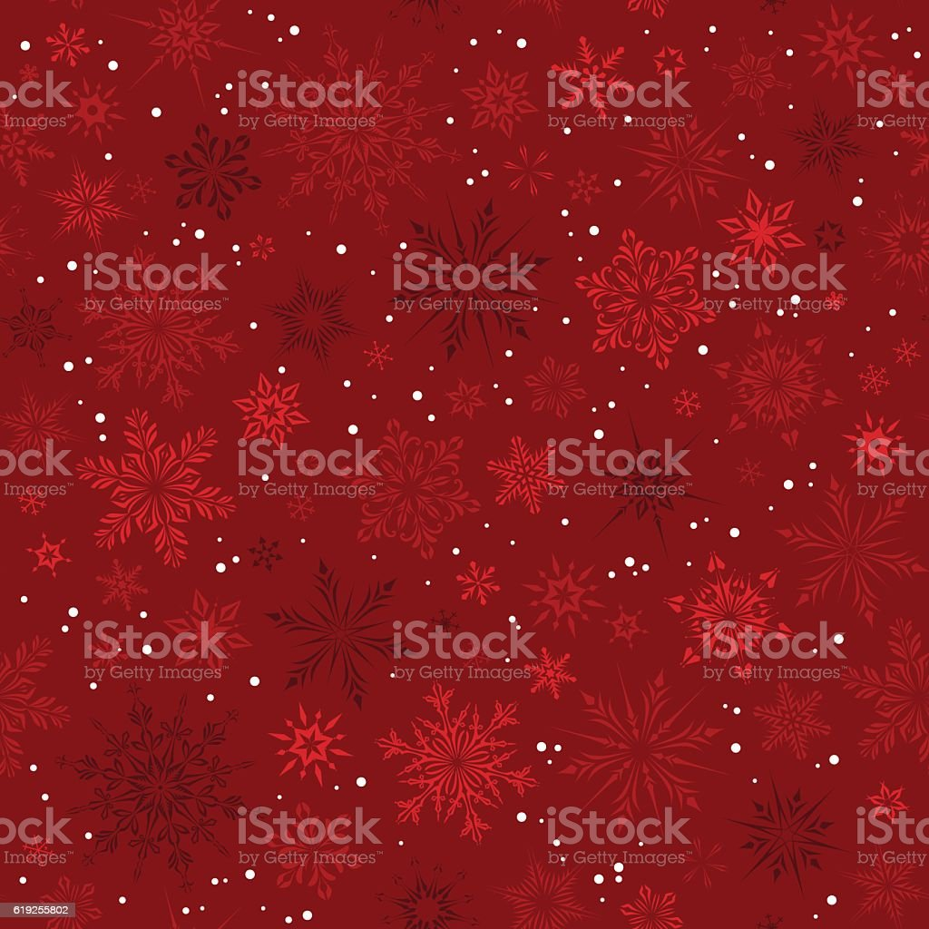 Red Snowflakes Seamless Pattern vector art illustration