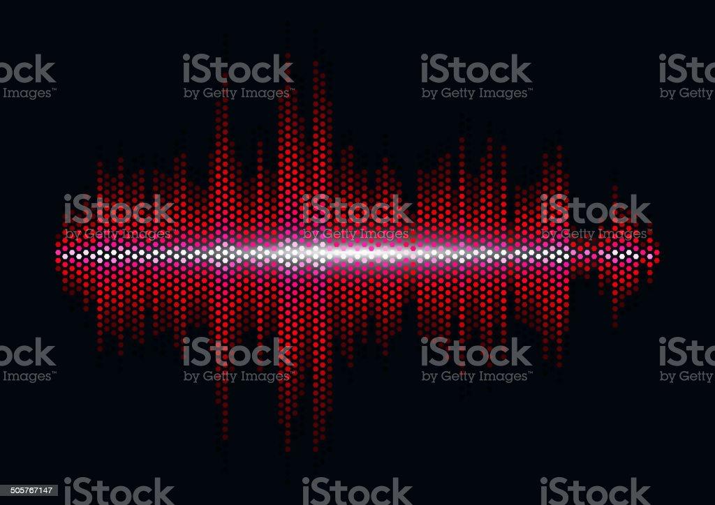 Red sound waveform with hex grid light filter vector art illustration