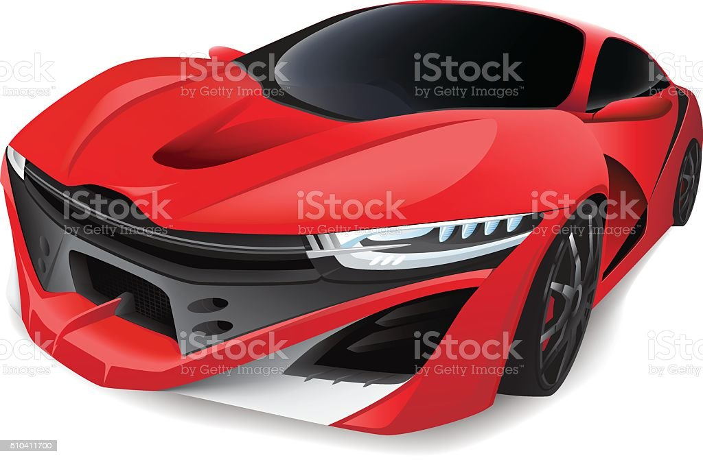 Red Sports Car vector art illustration