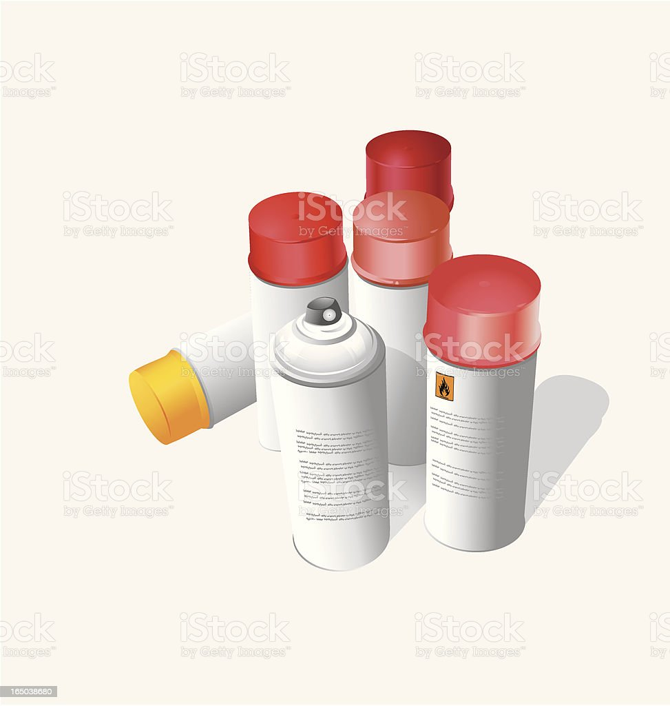 Red Spray Cans - Vector royalty-free stock vector art