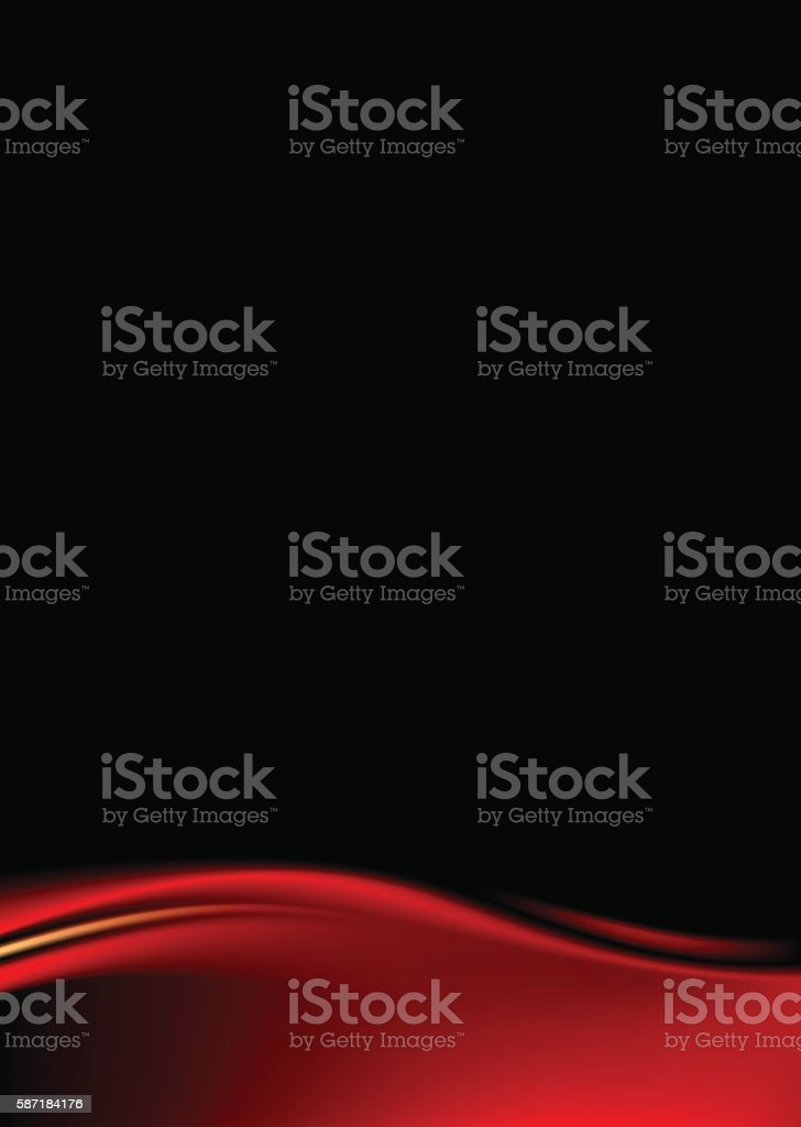 Red stage curtain on black background vector art illustration