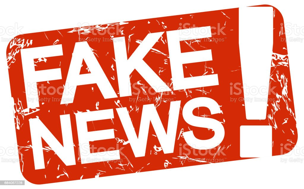 red stamp with text Fake News vector art illustration