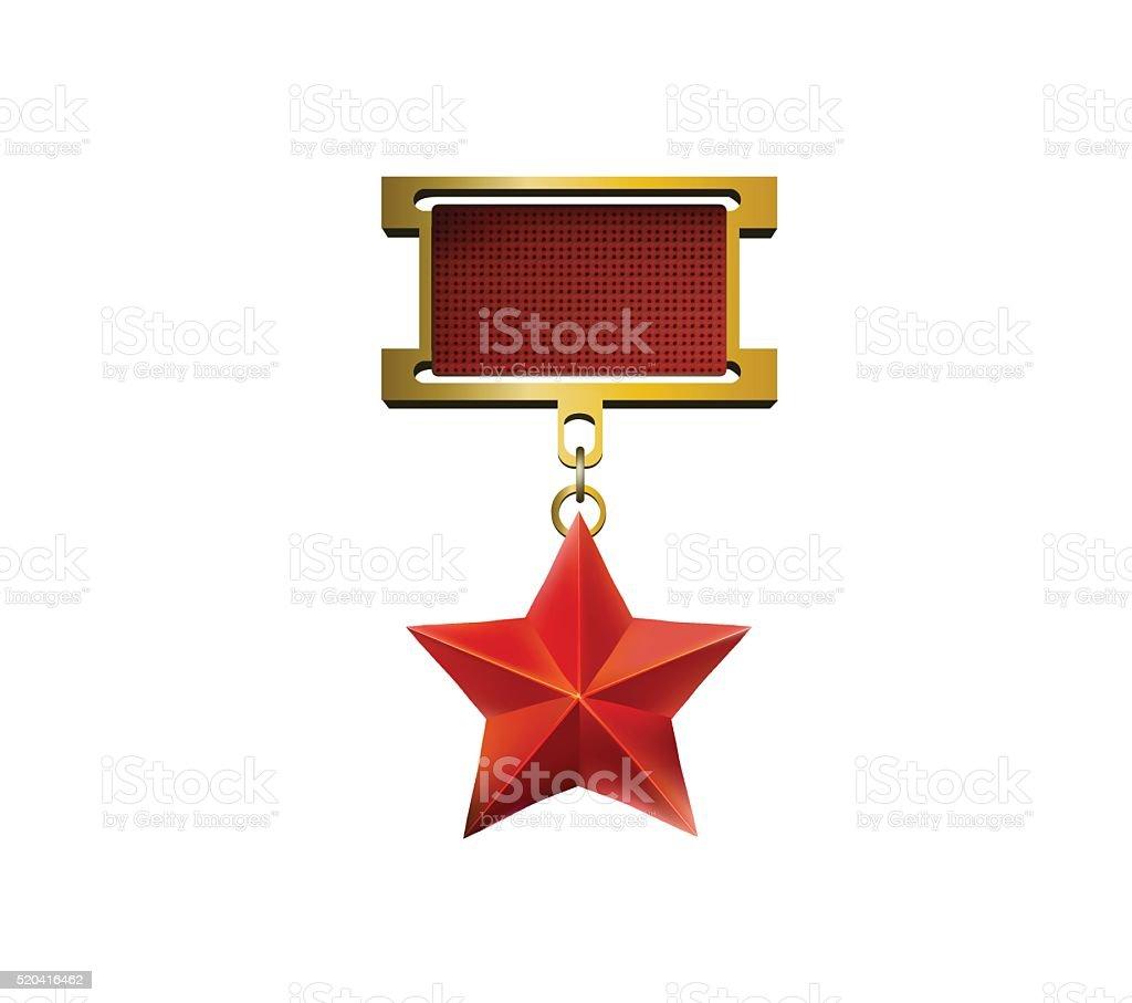 Red star medal vector art illustration