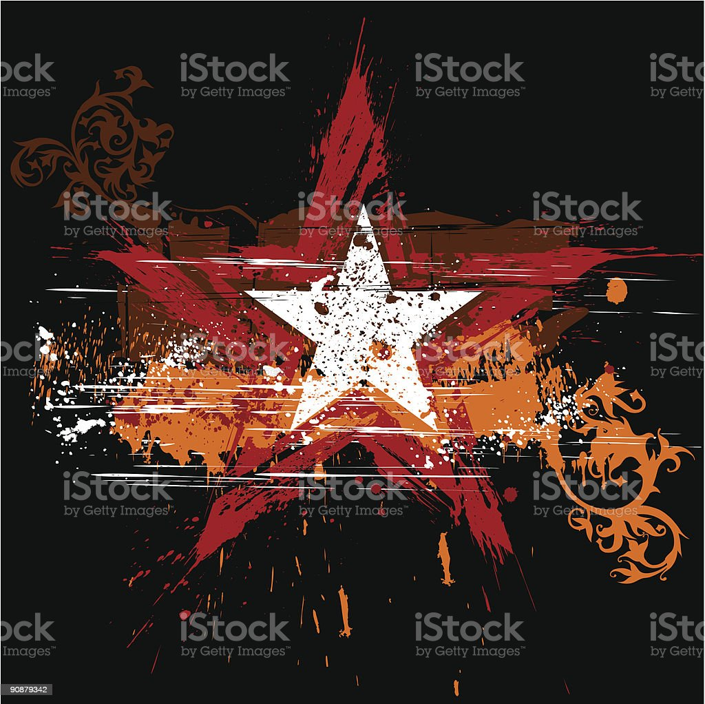 red star on black background and orange grunge flowers ornament royalty-free stock vector art