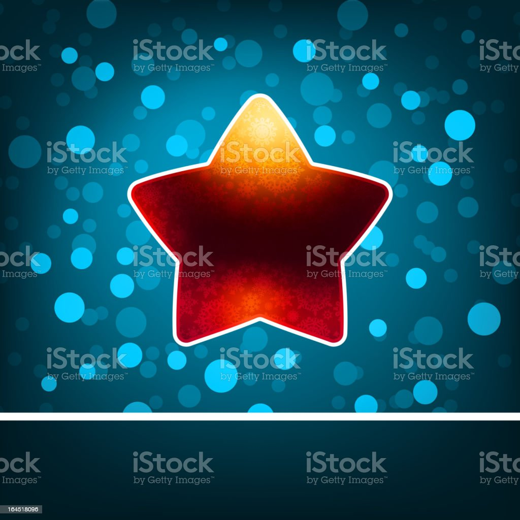 Red star on blue abstract Happy New Year. EPS 8 royalty-free stock vector art