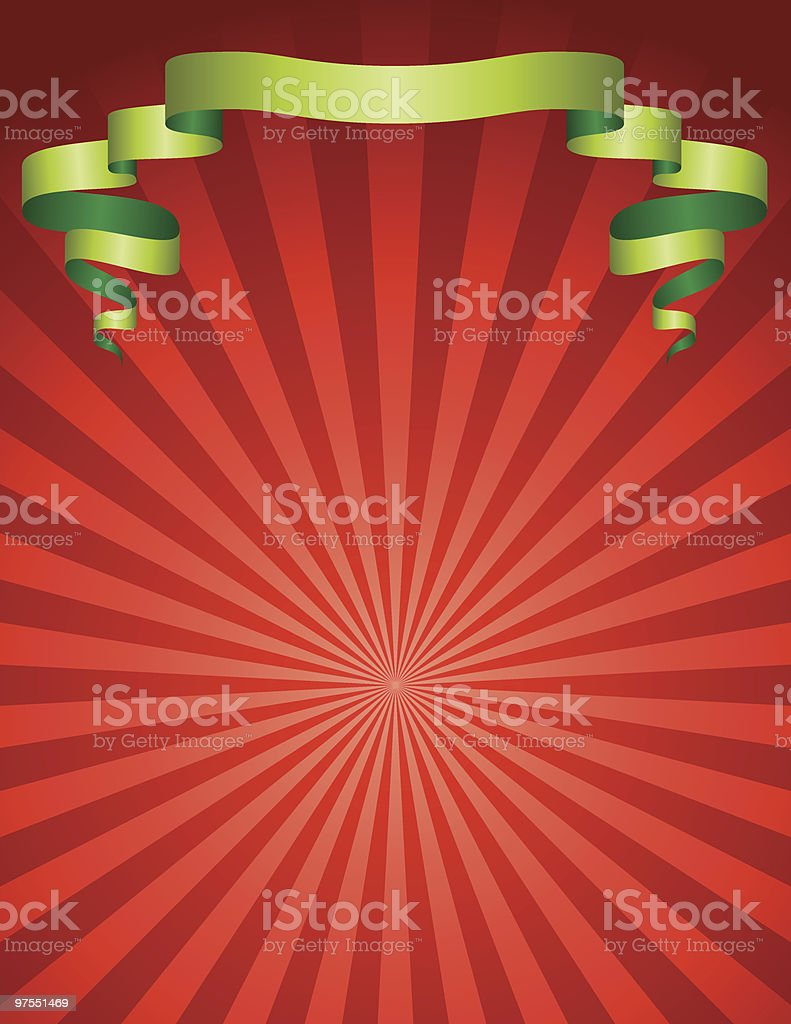 Red Starburst with Green Ribbon royalty-free stock vector art