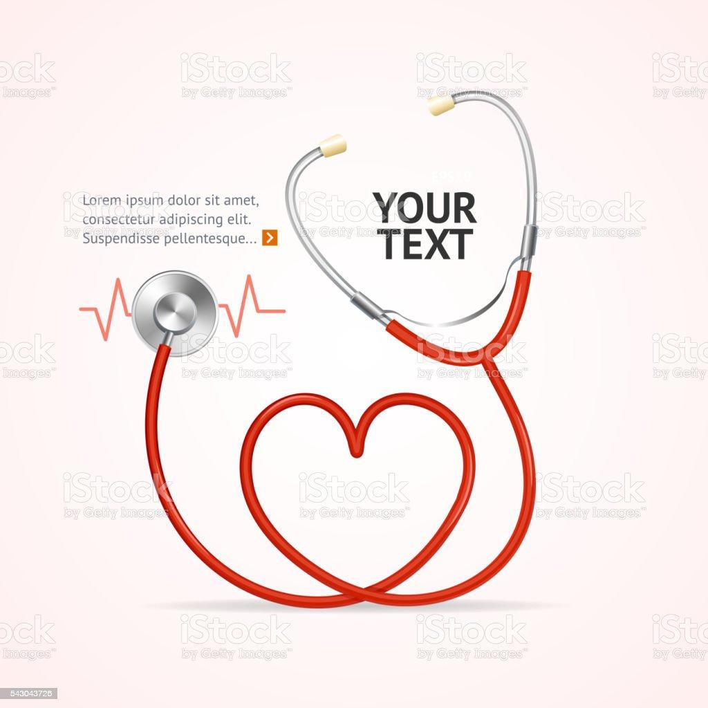 Red Stethoscope. Vector vector art illustration
