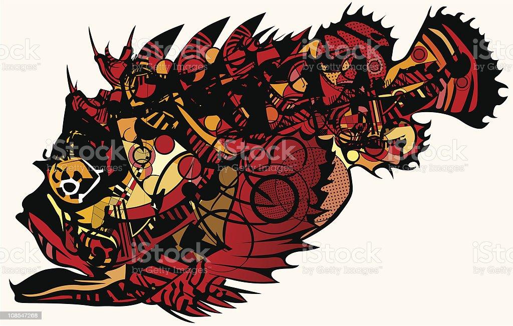 red stonefish vector art illustration